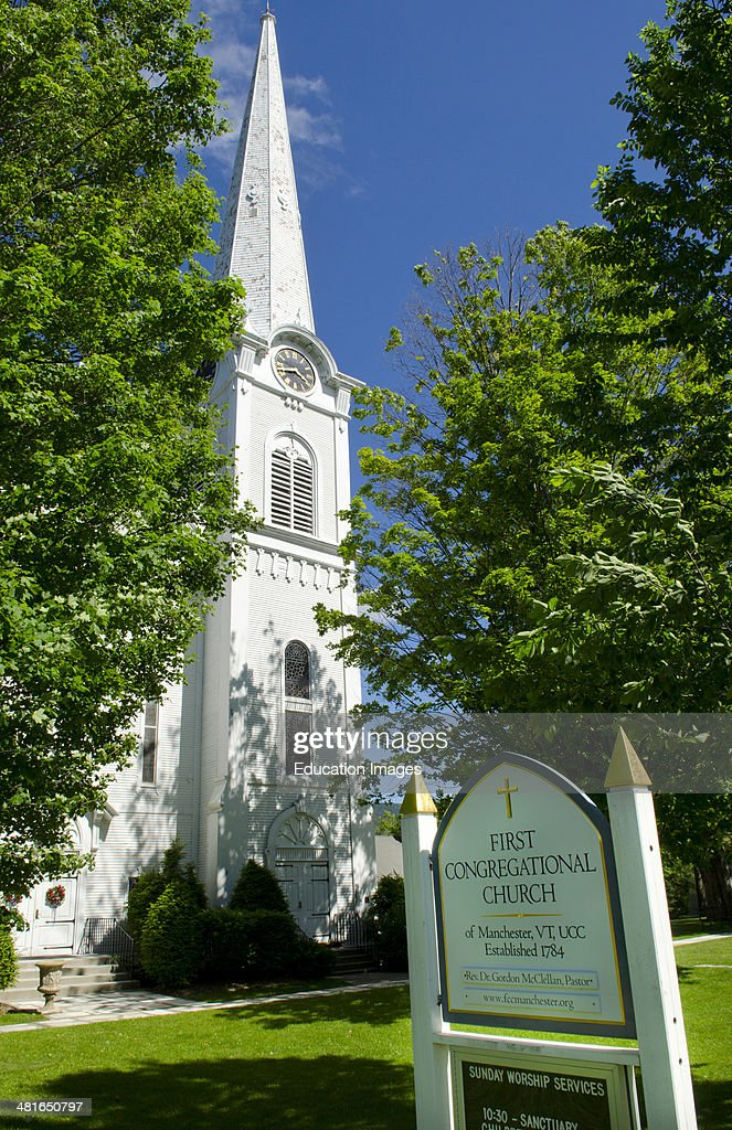 Manchester Vermont First Congregational Church built in 1784 steeple and worship church