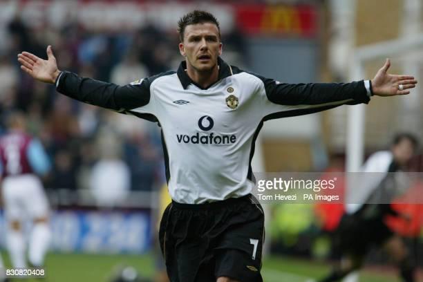 Manchester's David Beckham scores the equalizer against West Ham during their FA Barclaycard Premiership match at West Ham's Boleyn Ground at Upton...
