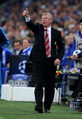 Manchester's manager Alex Ferguson gestures during the Champions League semifinal firstleg match of Schalke 04 against Manchester United on April 26...