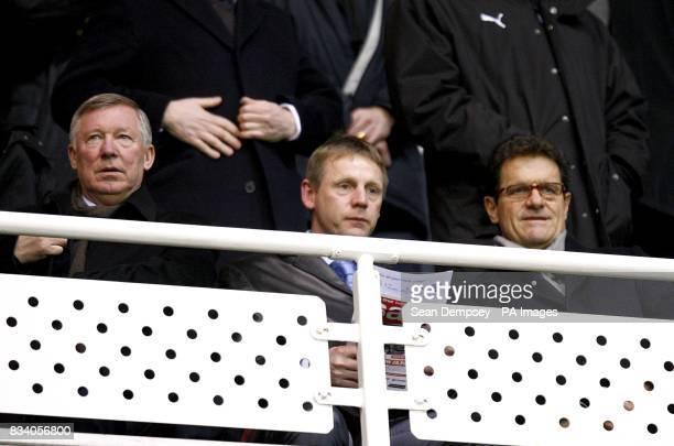 Manchetser United manager Alex Ferguson England under 21 manager Stuart Pearce and England manager Fabio Capello in the stands