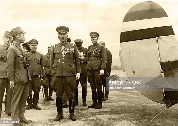 Manchurian Air Force Major General Yujiro Noguchi is seen on the way to Japan at Seoul Airport on September 16 1942 in Seoul South Korea