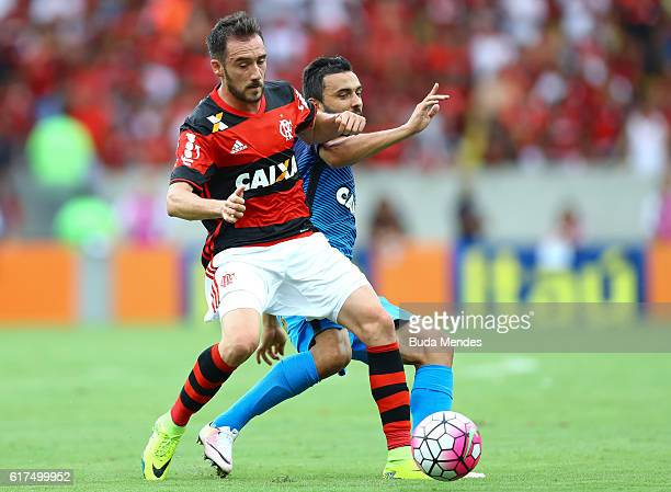 Mancuello of Flamengo struggles for the ball with Uendel of Corinthians during a match between Flamengo and Corinthians as part of Brasileirao Series...