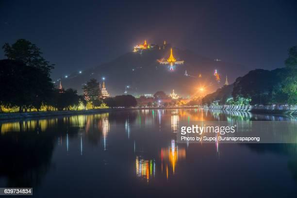 Mandalay hill reflection after sunset , Mandalay , Myanmar