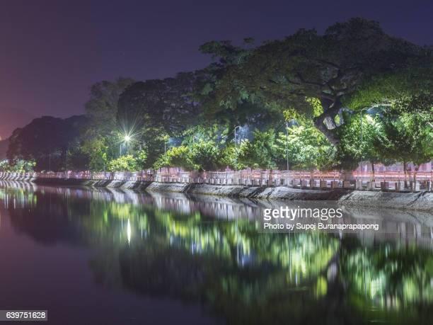 Mandalay public park reflection in front of Mandalay Palace
