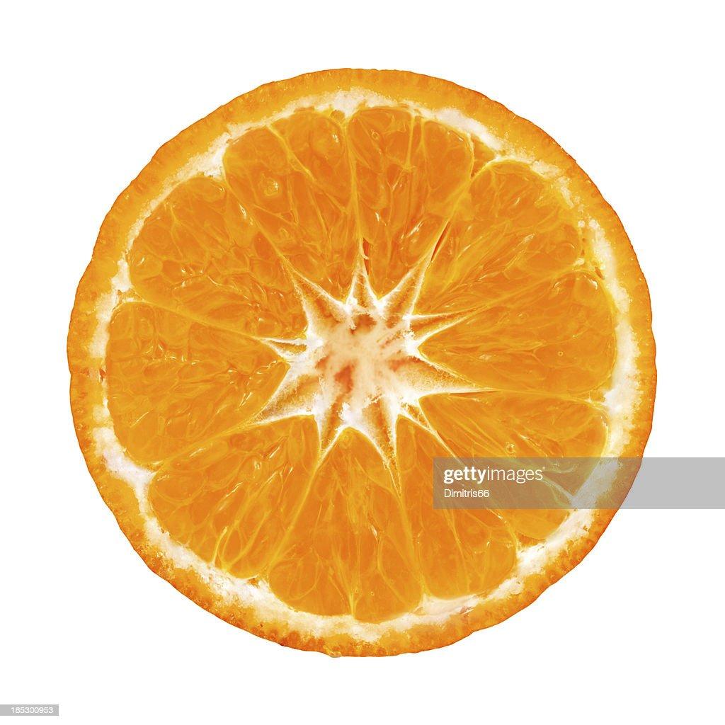 Mandarin orange portion on white