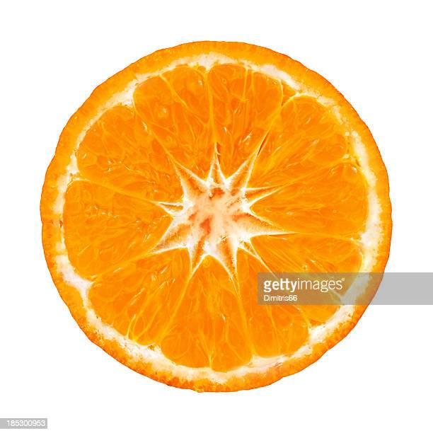 Mandarin orange portion on white