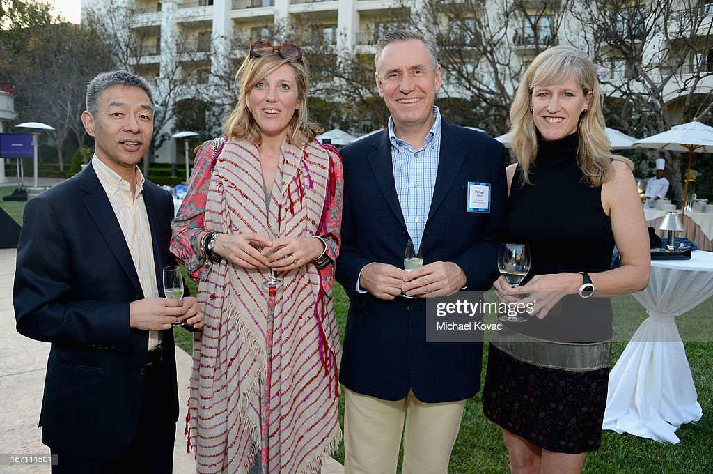 Mandarin Oriental Hotel Group Chief Marketing Officer Michael Hobson (2ndR), President of Gray & Co Cari Gray (R) and guests attend The American Express Publishing Luxury Summit 2013 at St. Regis Monarch Beach Resort on April 20, 2013 in Dana Point, California.