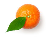 Mandarine, tangerine, clementine with leaf isolated on white background. Top view