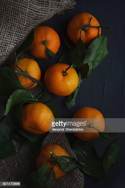 Mandarines on grey background