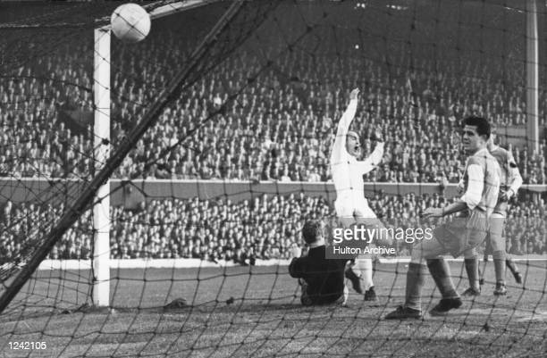 MADRIDS'' SECOND GOAL DURING THE 73 DEMOLITION OF EINTRACHT FRANKFURT AT HAMPDEN PARK IN THE EUROPEAN CUP FINAL DI STEFANO SCORED 3 WHILE PUSKAS...
