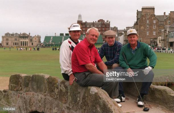 RAYMOND FLOYD ARNOLD PALMER TOM WATSON AND JACK NICKLAUS SIT ON THE SWILKEN BRIDGE ON THE 18TH HOLE AT THE 1995 BRITISH OPEN GOLF CHAMPIONSHIPAT ST...