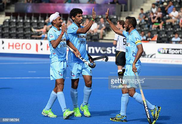 Mandeep Singh of India celebrates scoring their second goal with team mates during the FIH Men's Hero Hockey Champions Trophy 2016 Day One match...