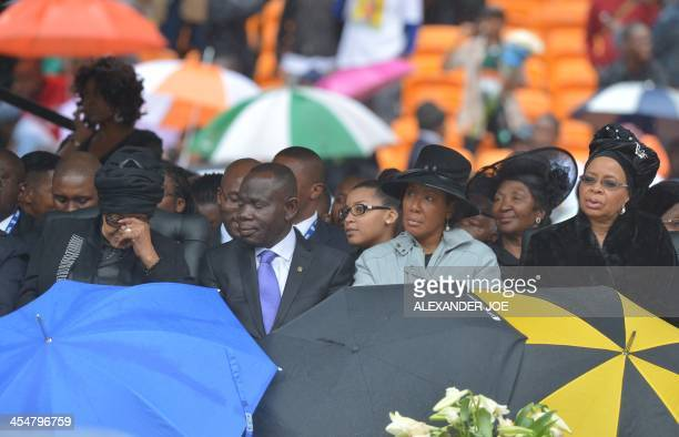 Mandela's former wife Winnie Mandela Mandela's widow Graca Machel and her daughter Makaziwe attend the memorial service of South African former...
