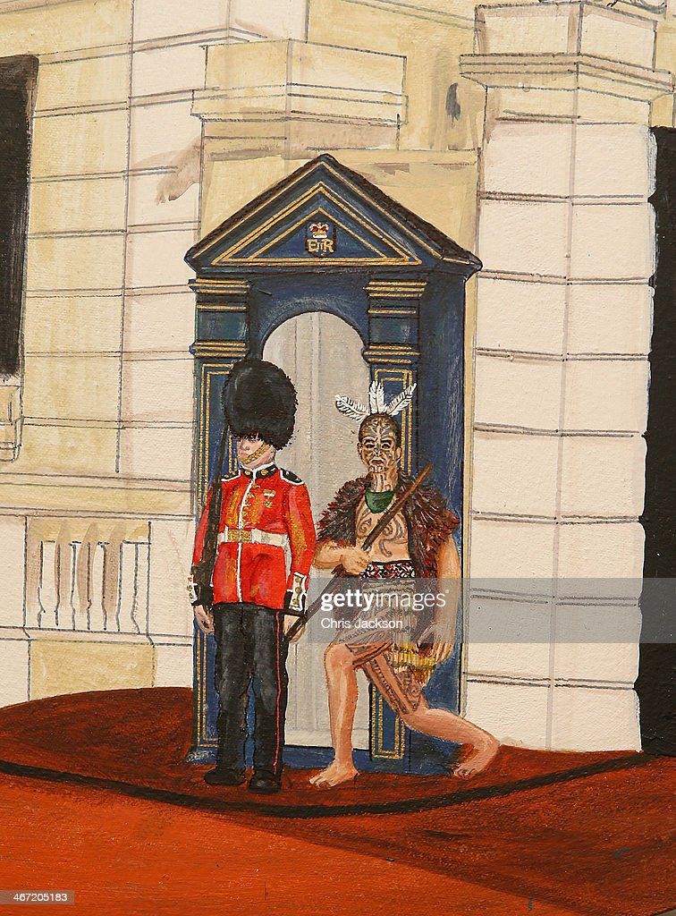 Mandii Pope's Maori-themed painting of Clarence House on Waitangi day at New Zealand House on February 6, 2014 in London, England. Waitangi Day commemorates the signing of a treaty between 500 Maori Chiefs and the British Crown in 1840.