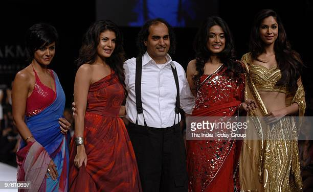 Mandira Bedi Jacqueline Fernandez Satya Paul designer Puneet Nanda Sarah Jane Dias and Amruta Patki on Day 4 of the Lakme Fashion Week on March 8 2010