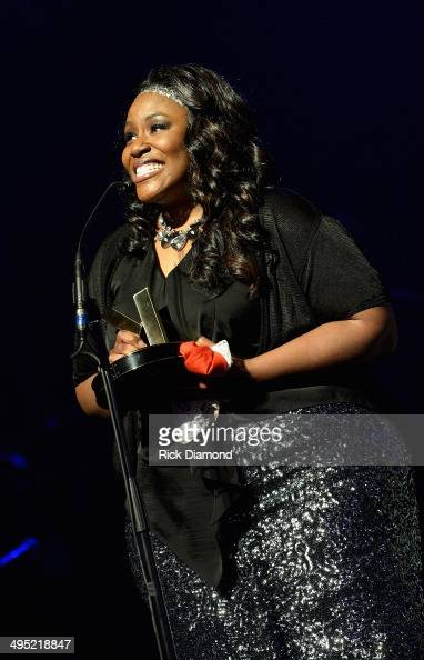 Mandisa accepts the Song of the Year Award at the 2nd Annual KLOVE Fan Awards at the Grand Ole Opry House on June 1 2014 in Nashville Tennessee