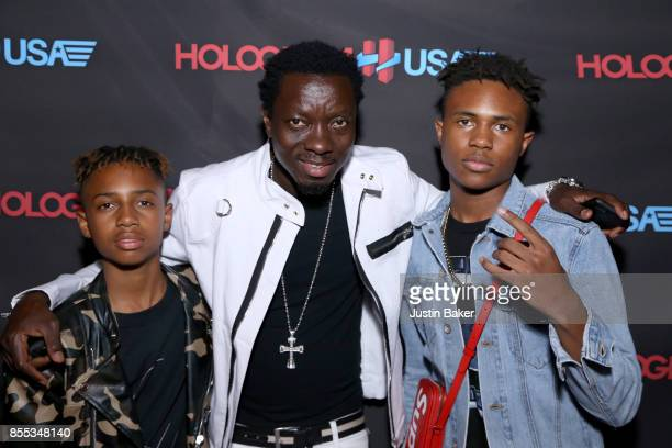 Mandla Morris Michael Blackson and Kailand Morris attend Hologram USA's Gala Preview at Hologram USA Theater on September 28 2017 in Los Angeles...