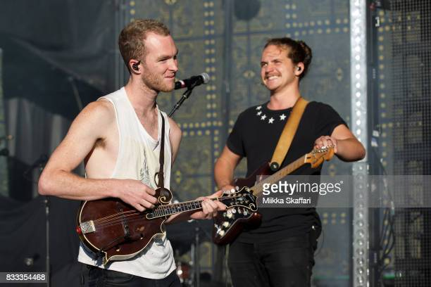 Mandolinist Brian Macdonald and guitarist Dylan Oglesby of Judah the Lion perform at Shoreline Amphitheatre on August 16 2017 in Mountain View...
