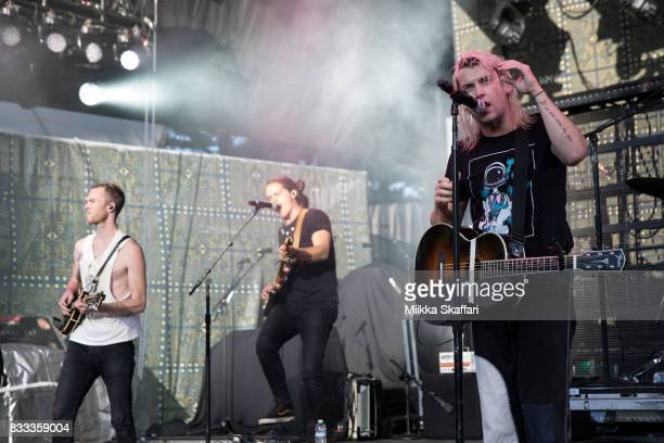 Mandolinist Brian Macdonald guitarist Dylan Oglesby and vocalist Judah Akers of Judah the Lion perform at Shoreline Amphitheatre on August 16 2017 in...