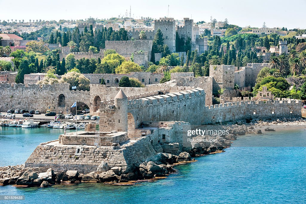 Mandraki harbor with the Palace of the Grand Maste