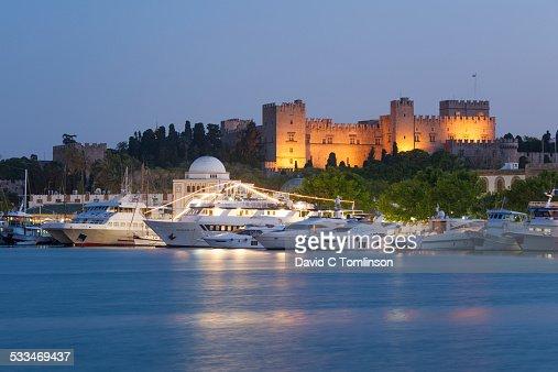 Mandraki Harbour Rhodes Town Rhodes Greece Stock Photo ...