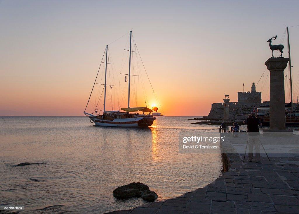 Mandraki sunrise, Rhodes Town, Rhodes, Greece