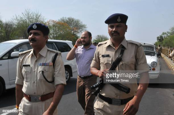 Mandsaur collector Swatantra Kumar singh being escorted to Barkheda Panth where farmers staging a chakka jam with dead body of Abhishek later he had...