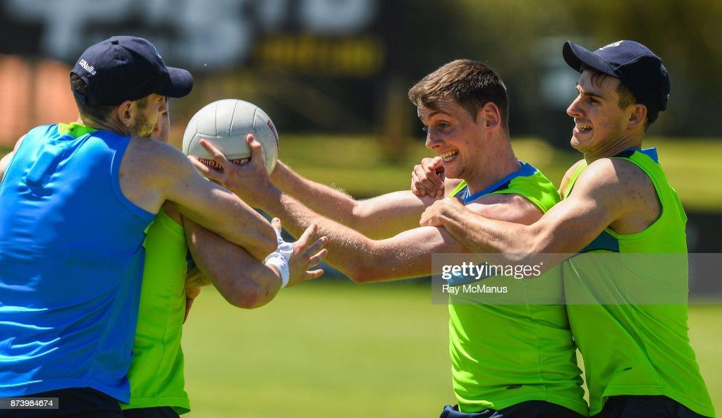 Mandurah , Australia - 14 November 2017; Conor Sweeney is tackled by Niall Murphy during Ireland International Rules Squad training at Bendigo Bank Stadium, Mandurah, Australia.