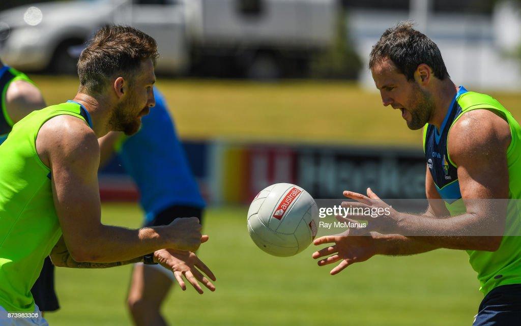 Mandurah , Australia - 14 November 2017; Zach Tuohy and Michael Murphy during Ireland International Rules Squad training at Bendigo Bank Stadium, Mandurah, Australia.