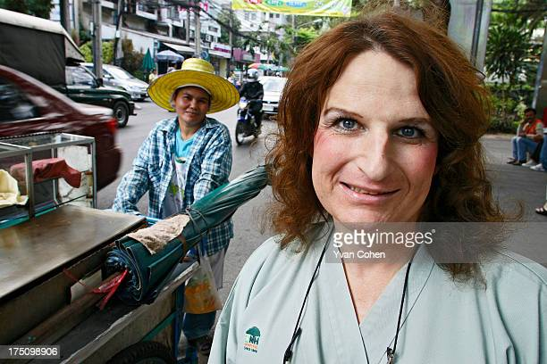 Mandy a 49yearold American transexual outside the Bangkok Nursing Home hospital in downtown Bangkok After years of ostracisation in the US Mandy flew...