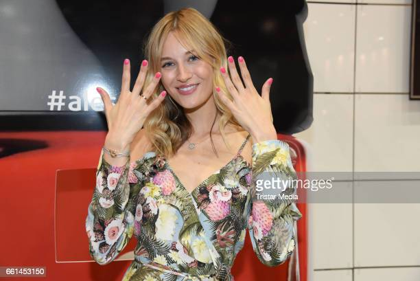 Mandy Bork presents the new limited nail polish line 'Fashion Colours by Thomas Rath' for alessandro International at the Beauty Top Hair Fair on...