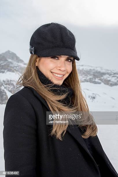 Mandy Capristo one of four judges of the german TVshow DSDS poses at a photocall on January 16 2015 in Ischgl Austria
