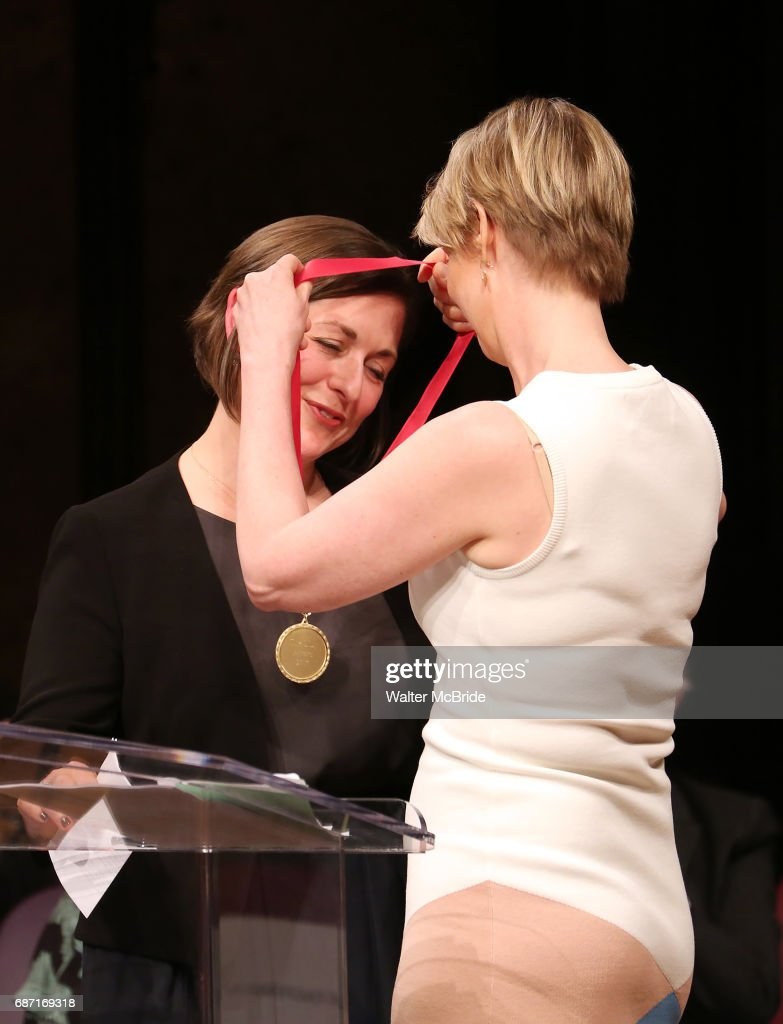 Mandy Greenfield and Cynthia Nixon on stage at the 2017 The Lilly Awards at Playwrights Horizons on May 22, 2017 in New York City.