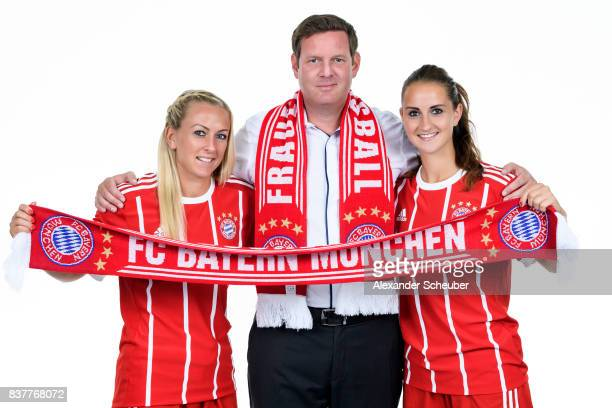 Mandy Islacker and Sara Daebritz of Bayern Muenchen pose with Allianz Insurance Manager Robert Spulak during the Allianz Frauen Bundesliga Club Tour...