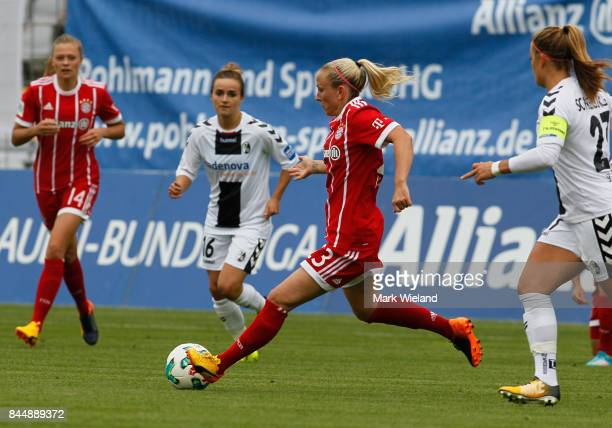 Mandy Islacker of Bayern Muenchen in action during the women Bundesliga match between Bayern Muenchen and SC Freiburg at Stadion an der Gruenwalder...