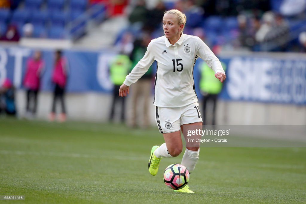 Mandy Islacker #15 of Germany in action during the France Vs Germany SheBelieves Cup International match at Red Bull Arena on March 4, 2017 in Harrison, New Jersey.
