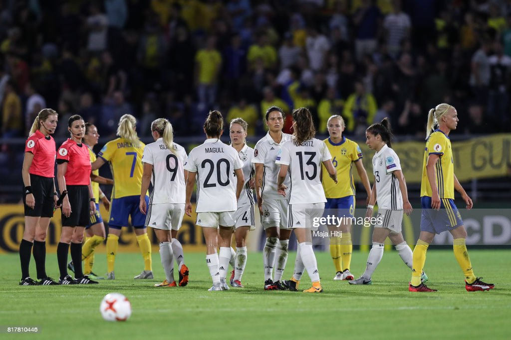 Mandy Islacker of Germany (L-R), Lina Magull, Leonie Maier, Dzsenifer Marozsan and Sara Daebritz react after the Group B match between Germany and Sweden during the UEFA Women's Euro 2017 at Rat Verlegh Stadion on July 17, 2017 in Breda, Netherlands.