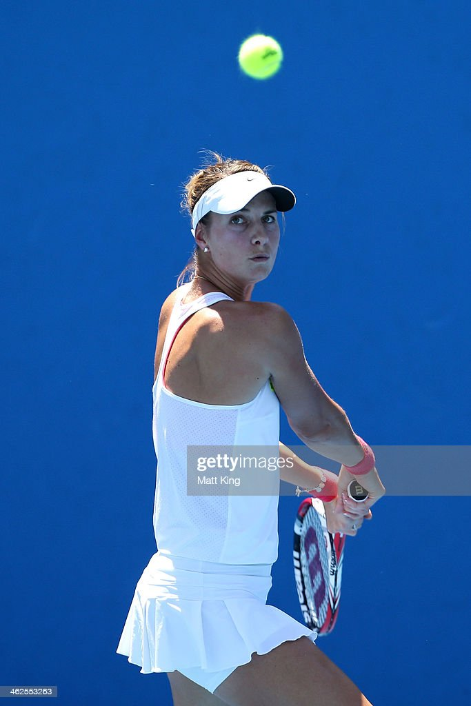 <a gi-track='captionPersonalityLinkClicked' href=/galleries/search?phrase=Mandy+Minella&family=editorial&specificpeople=3378502 ng-click='$event.stopPropagation()'>Mandy Minella</a> of Luxembourg plays a backhand in her first round match against Carina Witthoeft of Germany during day two of the 2014 Australian Open at Melbourne Park on January 14, 2014 in Melbourne, Australia.
