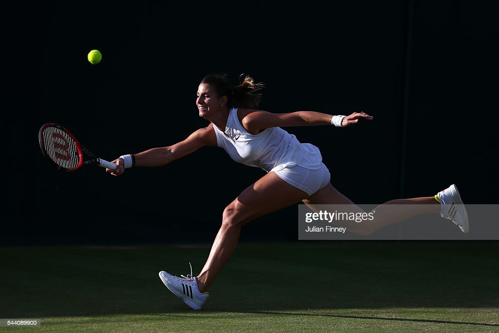 <a gi-track='captionPersonalityLinkClicked' href=/galleries/search?phrase=Mandy+Minella&family=editorial&specificpeople=3378502 ng-click='$event.stopPropagation()'>Mandy Minella</a> of Luxembourg plays a forehand during the Ladies Singles second round match against Slone Stephens of The United States on day five of the Wimbledon Lawn Tennis Championships at the All England Lawn Tennis and Croquet Club on July 1, 2016 in London, England.