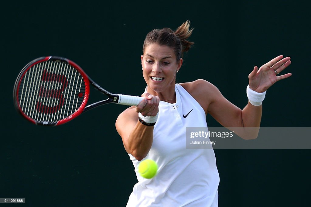 <a gi-track='captionPersonalityLinkClicked' href=/galleries/search?phrase=Mandy+Minella&family=editorial&specificpeople=3378502 ng-click='$event.stopPropagation()'>Mandy Minella</a> of Luxembourg plays a forehand during the Ladies Singles second round match against Sloane Stephens of The United States on day five of the Wimbledon Lawn Tennis Championships at the All England Lawn Tennis and Croquet Club on July 1, 2016 in London, England.