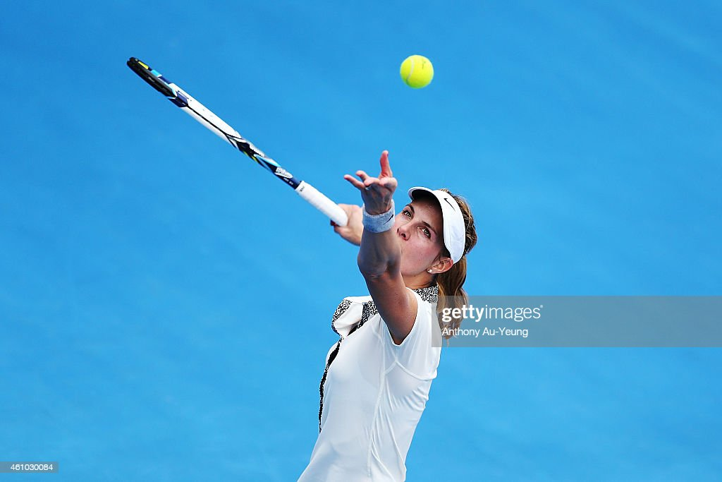 <a gi-track='captionPersonalityLinkClicked' href=/galleries/search?phrase=Mandy+Minella&family=editorial&specificpeople=3378502 ng-click='$event.stopPropagation()'>Mandy Minella</a> of Luxembourg serves against Anna Tatishvili of USA during day one of the 2015 ASB Classic at ASB Tennis Centre on January 5, 2015 in Auckland, New Zealand.