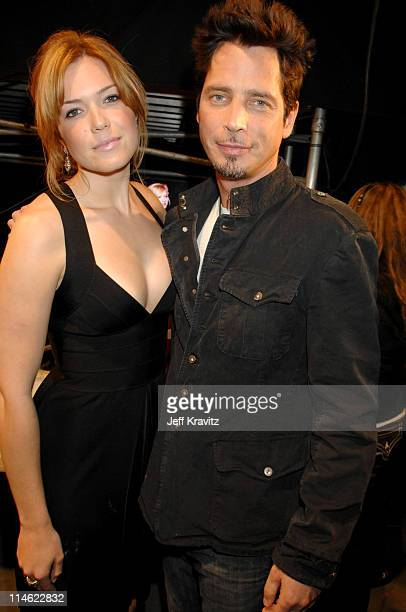 Mandy Moore and Chris Cornell during First Annual Spike TV's Guys Choice Backstage and Audience at Radford Studios in Los Angeles California United...