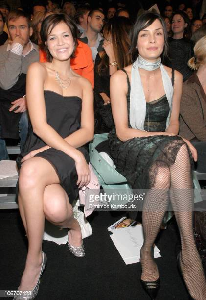 Mandy Moore and Famke Janssen during MercedesBenz Fashion Week Fall 2003 Collections Marc Jacobs Front Row and Backstage at New York State Armory in...