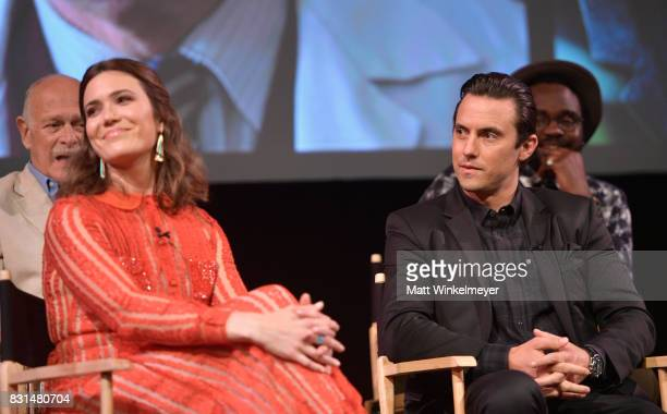 Mandy Moore and Milo Ventimiglia speak onstage at FYC Panel Event for 20th Century Fox and NBC's 'This Is Us' at Paramount Studios on August 14 2017...