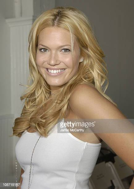 Mandy Moore during Olympus Fashion Week Spring 2006 Benhaz Sarafpour Front Row and Backstage at Drive In Studios in New York City New York United...