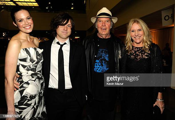 Mandy Moore Ryan Adams Neil Young and Pegi Young attend The 2012 MusiCares Person Of The Year Gala Honoring Paul McCartney at Los Angeles Convention...