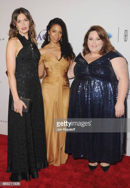 Mandy Moore Susan Kelechi Watson and Chrissy Metz arrive at the 42nd Annual Gracie Awards at the Beverly Wilshire Four Seasons Hotel on June 6 2017...