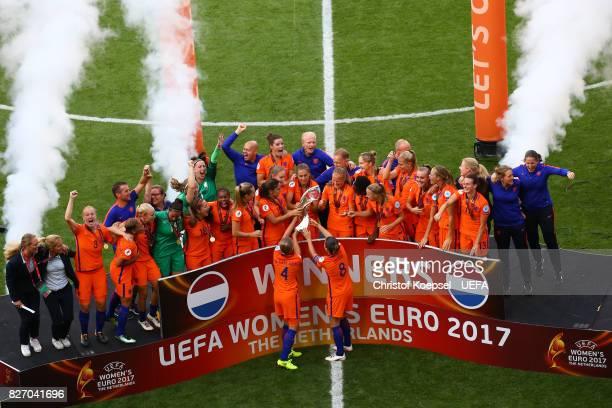 Mandy van den Berg and Sherida Spitse of the Netherlands celebrate victory during the Netherlands v Denmark UEFA Women's Euro 2017 Final at De...