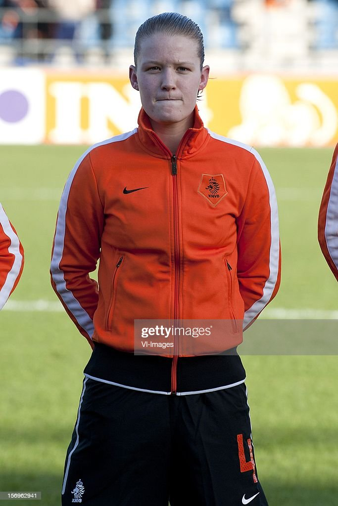 Mandy van den Berg of Holland during the Women's international friendly match between Netherlands and Wales, at Tata steel stadium on November 25, 2012 in Velzen-Zuid, Netherlands.