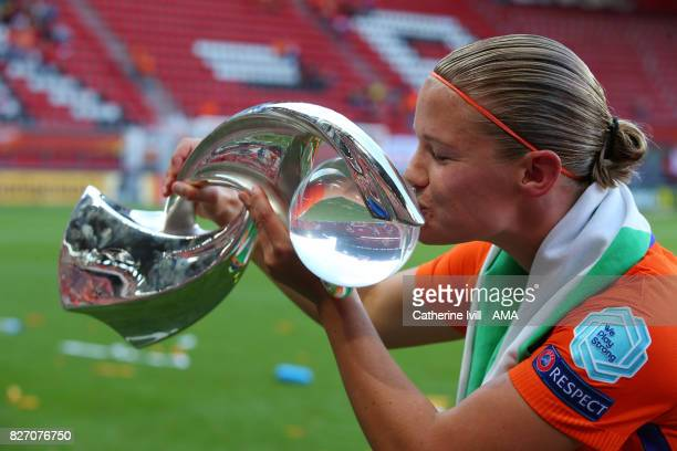 Mandy Van Den Berg of Netherlands Women kisses the trophy after the UEFA Women's Euro 2017 final match between Denmark and Netherlands at De Grolsch...